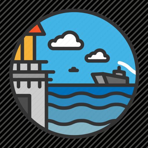 cloud, light, lighthouse, ocean, sea, ship icon