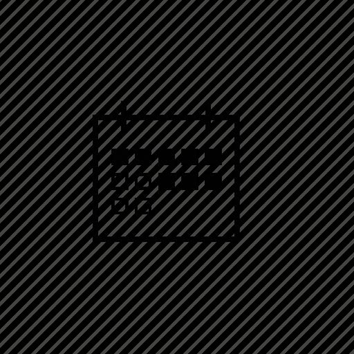 block, calendar, line icon