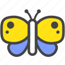 blue, bug, butterfly, insect, nature, yellow icon