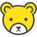 bear, brown bear, farm, nature, yellow, zoo icon