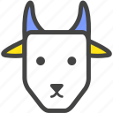 billy goat, blue, farm, goat, nanny goat, nature, yellow icon