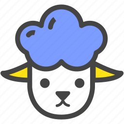 blue, farm, lamb, nature, ram, sheep, yellow icon