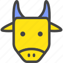 blue, bull, cow, farm, nature, ox, yellow