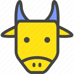 blue, bull, cow, farm, nature, ox, yellow icon