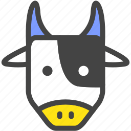 blue, bull, cow, dairy cattle, farm, nature, yellow icon
