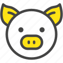 farm, nature, pig, piglet, pork, yellow icon
