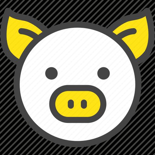 farm, nature, pig, piglet, pork, yellow icon