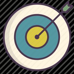 aim, arrow, bullseye, center, shoot, target icon