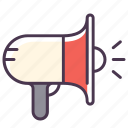 alert, attention, broadcast, loud, megafon, megafone, megaphone icon
