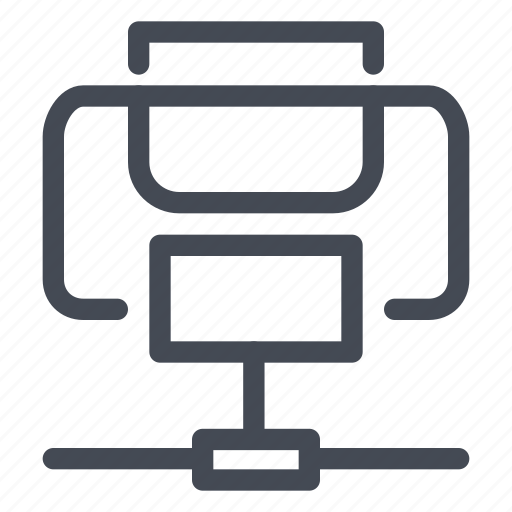 connected, connection, device, document, network, print, printer icon