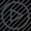 btn, circle, play icon