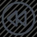 backward, btn, circle, play icon
