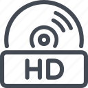 disc, hd, quality icon