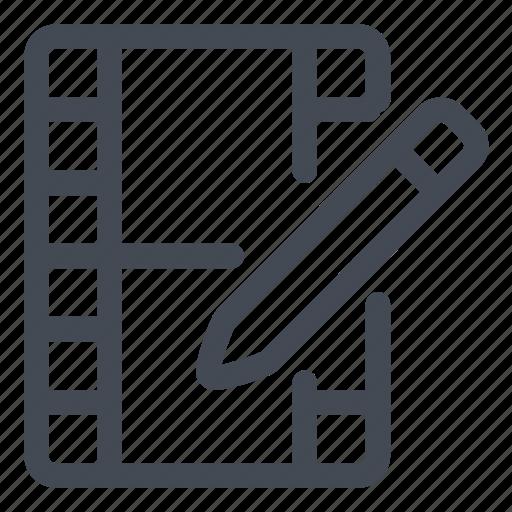 edit, modify, movie, pencil, reel icon
