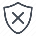 cross, danger, secure, security, shield icon