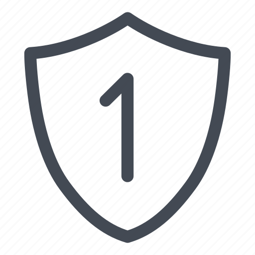 level, level one, secure, security, shield icon