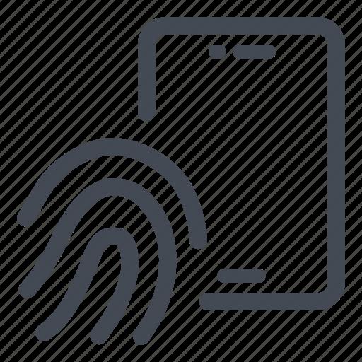 access, fingerprint, phone, security icon