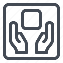 care, handle, label, logistic, notice icon