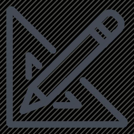 design, pencil, square ruler, tools, work icon