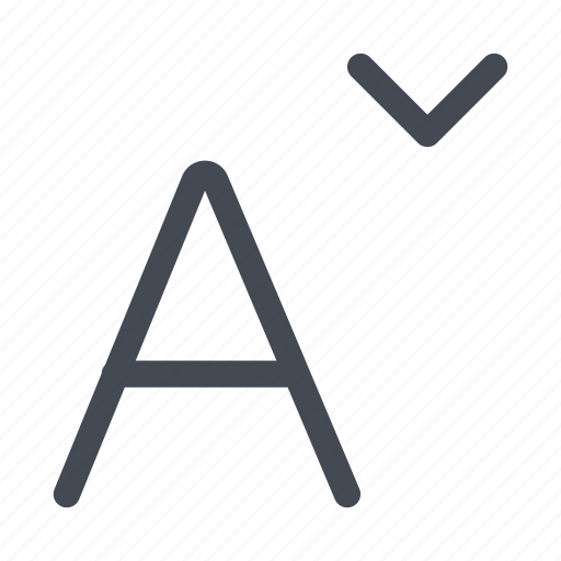 character, decrease, letters, police, size, text icon