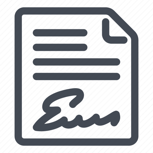 agreement, certification, electronic, signature icon