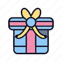 birthday, celebration, decoration, gift, package, ribbon, shopping icon