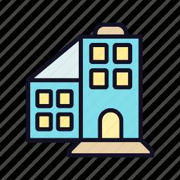 building, estate, hotel, restaurant, room, travel, work icon