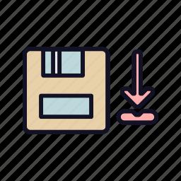 database, doc, download, export, import, import-doc, storage icon