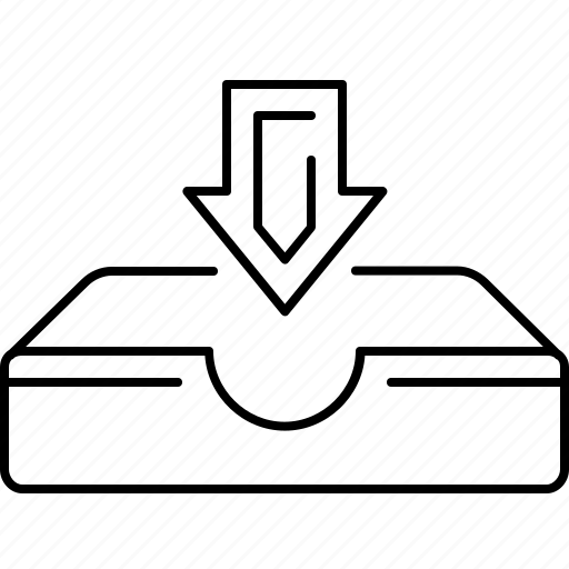 arrow, down, download, interface, tray icon