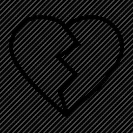 broken heart, drama, heart, love, sad, unlove icon