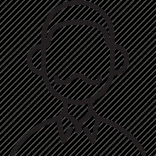 avatar, dad, icon, line, male, person, user icon