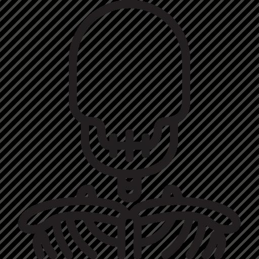 avatar, face, icon, outline, person, profile, skull icon