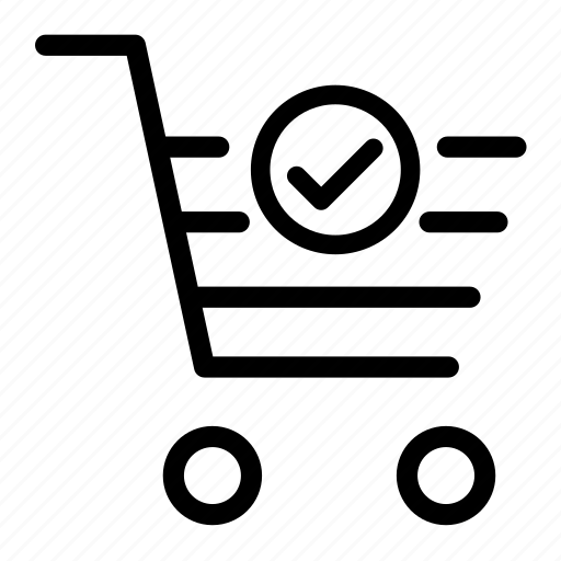 basket, cart, ecommerce, shopping, shopping cart, successful icon