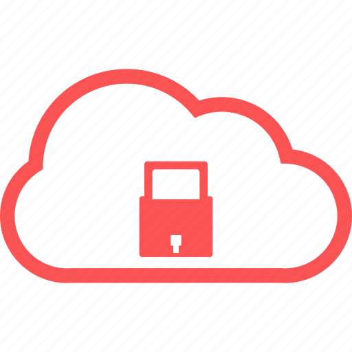 cloud, cloud secured, line, protection, safe, secure icon