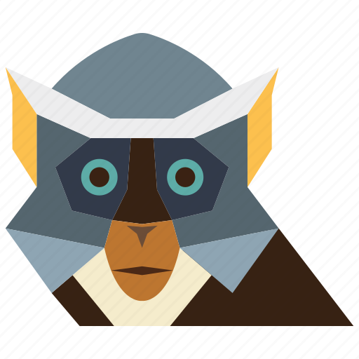 animal, animal face, cartoon, linear animal, monkey, monkey face icon
