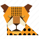 animal, animal face, cartoon, jung, linear animal, tiger, tiger face icon