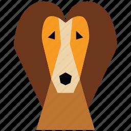 animal, animal face, cartoon, dog, dog face, linear animal icon