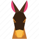 animal, animal face, cartoon, donkey, donkey face, linear animal icon