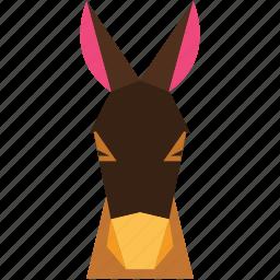 animal, animal face, cartoon, donkey, donkey face, linear animal icon