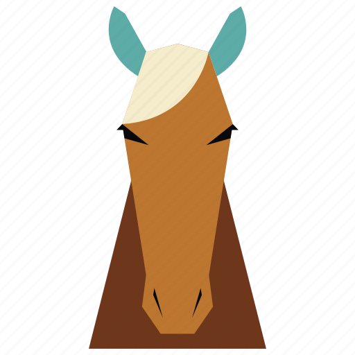 animal, animal face, cartoon, horse, horse face, linear animal icon