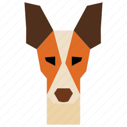 animal, animal face, cartoon, dog, dog face, linear animal icon