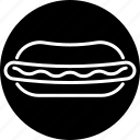 bun, fast food, food, hot dog, junk food, sausage, snack icon