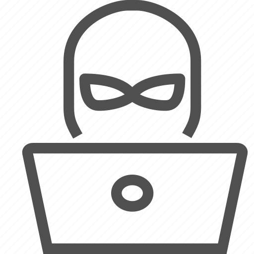 computer, crime, internet, larceny, mask, robbery, thief icon