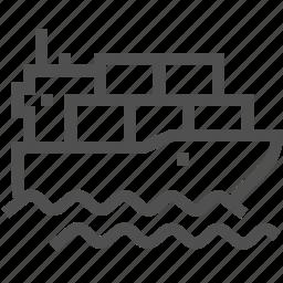 boat, cargo, freight, goods, sea, ship, shipboard icon
