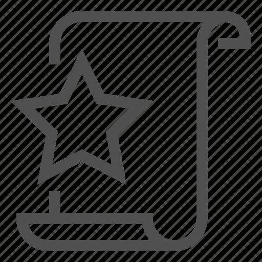 favorites, favourite, list, scroll, star, starred, wishlist icon