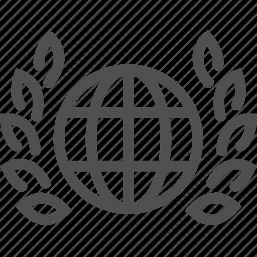 branch, business, global, international, leaf, world icon