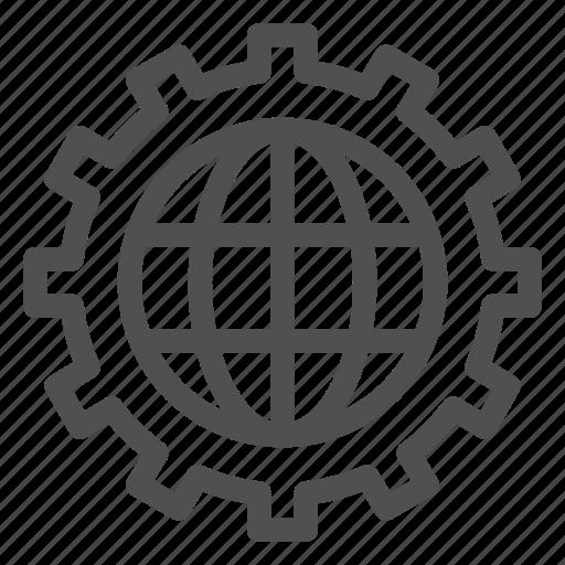 configuration, development, global, processing, production, setting, world icon