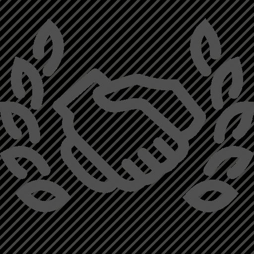 agreement, deal, global, handshake, international, laurel, wreath icon