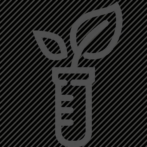 flask, genetically, gmo, laboratory, leaf, modified, plant icon