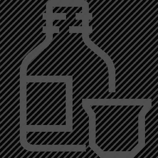 bottle, cap, liquid, medicament, medicine, syrup, top icon